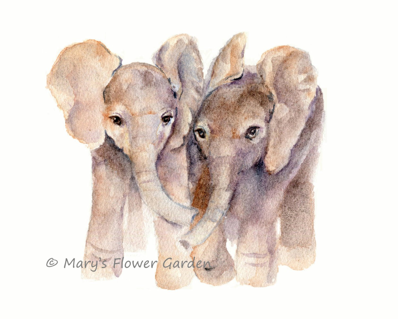 1500x1200 Baby Elephants Watercolor Print Baby Art Baby Elephant Etsy
