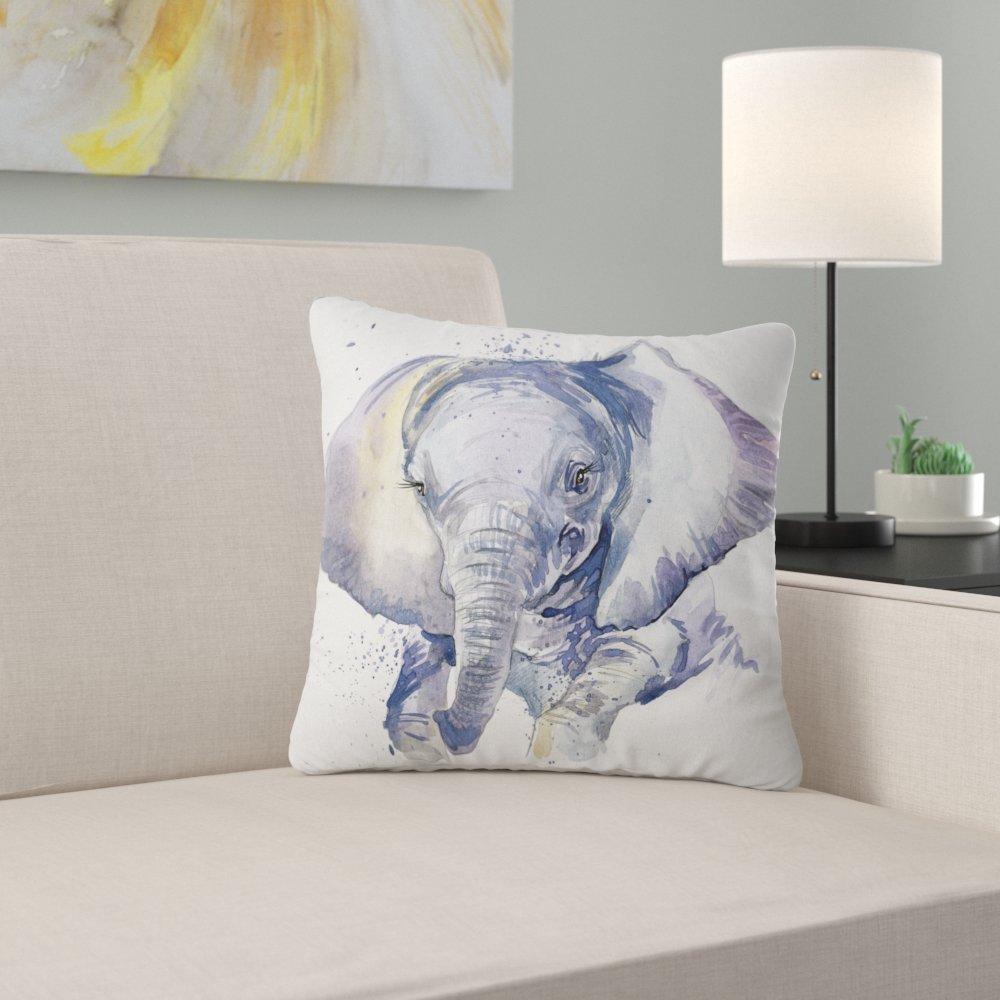 1000x1000 East Urban Home Abstract Baby Elephant Watercolor Pillow Wayfair