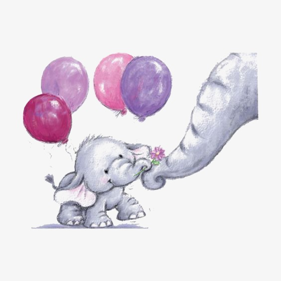 564x564 Hand Painted Baby Elephant, Baby Clipart, Elephant Clipart