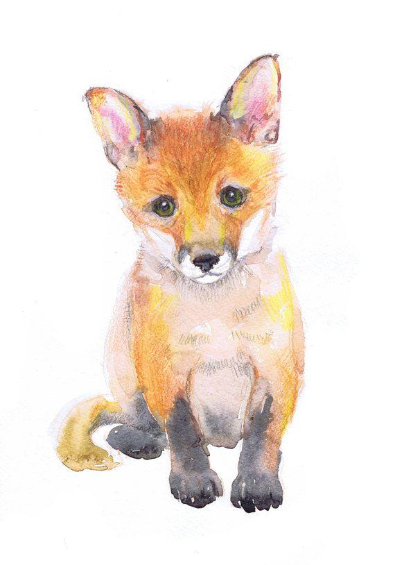 570x814 Baby Fox Art Watercolor Painting, Baby Prints Boy Girl Nursery
