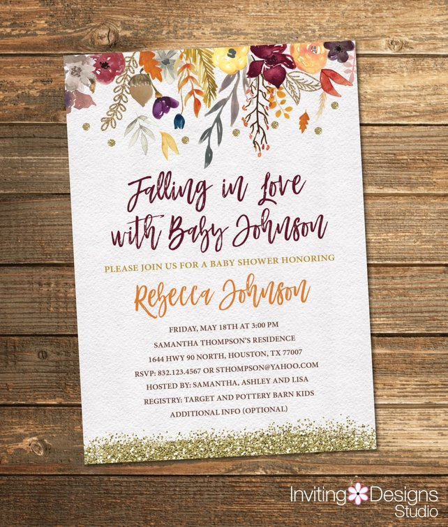 642x755 Fall Baby Shower Invitation Autumn Baby Shower Watercolor Etsy