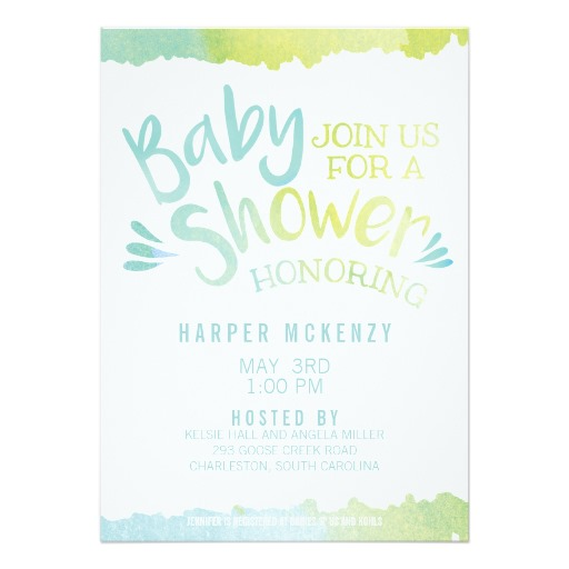 512x512 Oh Baby Blue Watercolor Baby Shower Invitation