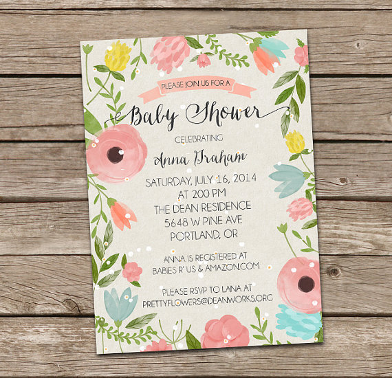 570x550 Baby Shower Invitation Watercolor Foilage Baby Shower Invitation