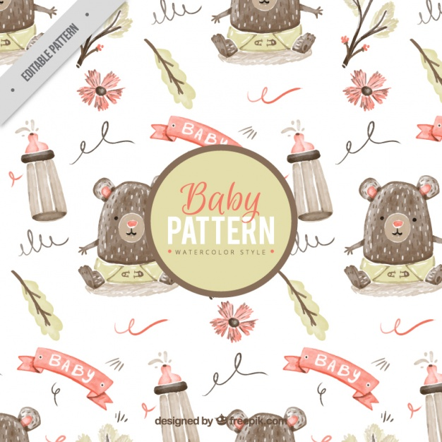 626x626 Baby Pattern With Little Bear In Watercolor Style Vector Free