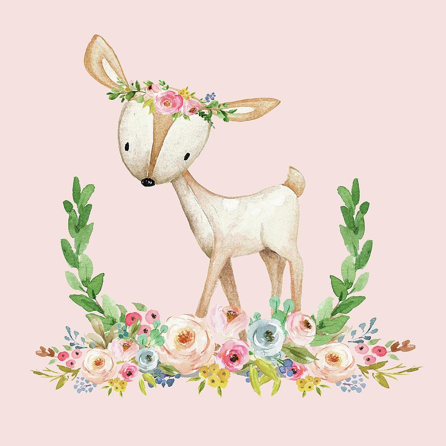 900x900 Boho Woodland Baby Nursery Deer Floral Watercolor Print Baby Girl