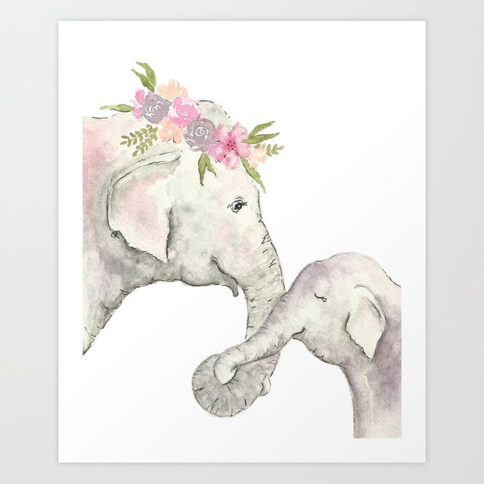 700x700 Elephant Mother And Baby Watercolor Art Print By