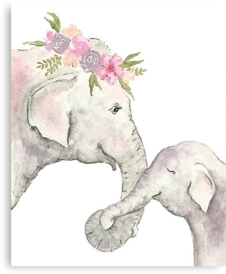 454x550 Elephant Mother And Baby Watercolor Canvas Prints By
