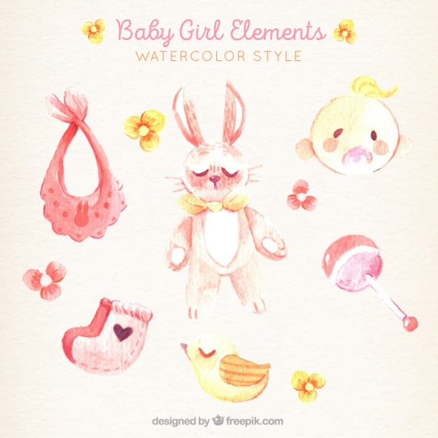 626x626 Lovely Pack Of Watercolor Baby Girl Elements Vector Free Download