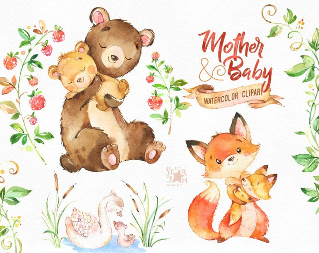 642x510 Mother Amp Baby. Watercolor Animals Clipart Fox Bear Swan Etsy