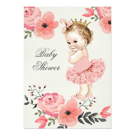 540x540 Princess In Tutu Watercolor Flowers Baby Shower Invitation