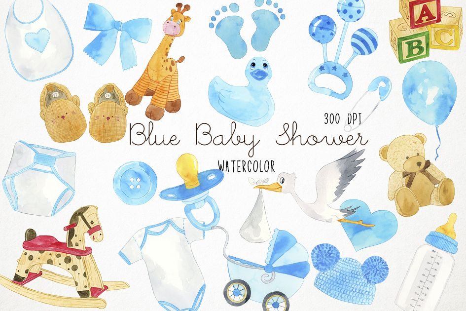 945x630 Watercolor Baby Shower Clipart, Baby Blue Clipart