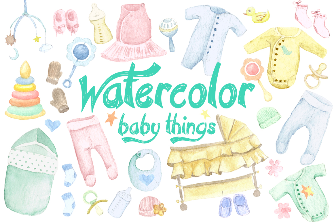 1160x772 Watercolor Baby Things Set