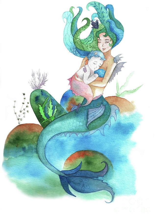 653x900 Watercolor Mermaid Holding A Baby Mermaid Drawing By Liliya