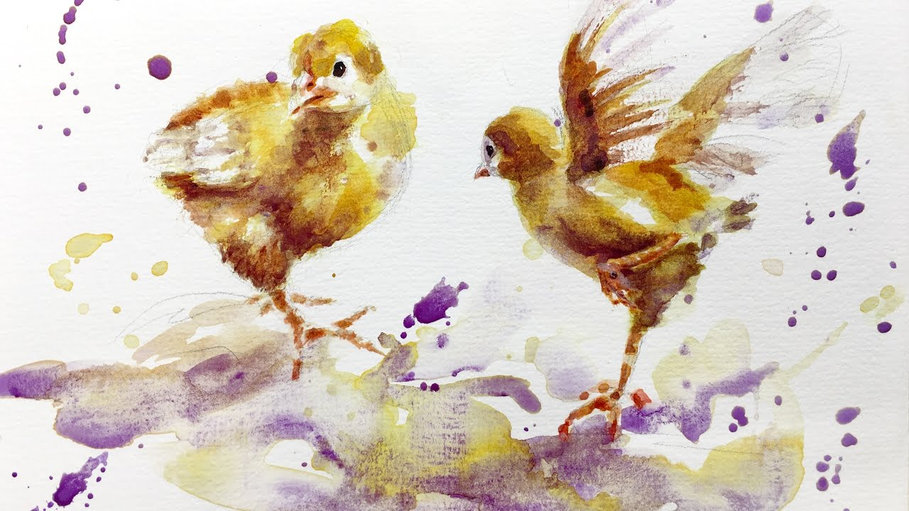 1280x720 Watercolor Painting Tutorial, Baby Chicks 4k