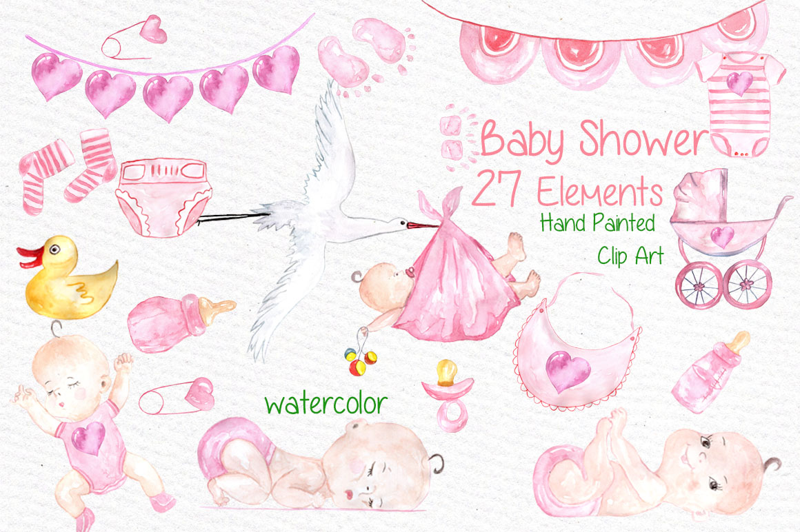 1160x772 Watercolor Baby Shower Girl Clipart