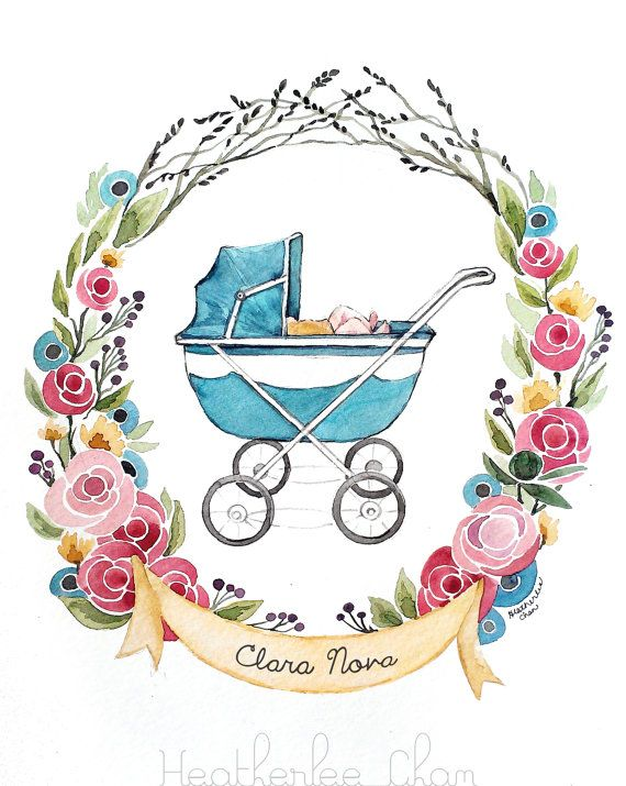570x715 Baby Carriage Watercolor