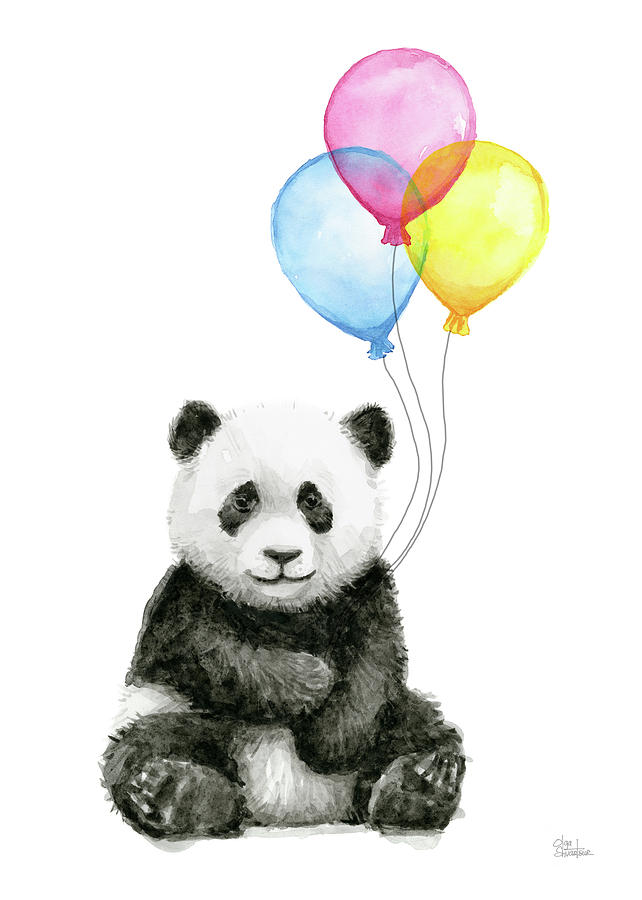 642x900 Baby Panda Watercolor With Balloons Painting By Olga Shvartsur