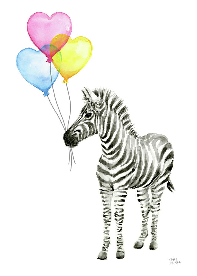 642x900 Baby Zebra Watercolor Animal With Balloons Painting By Olga Shvartsur