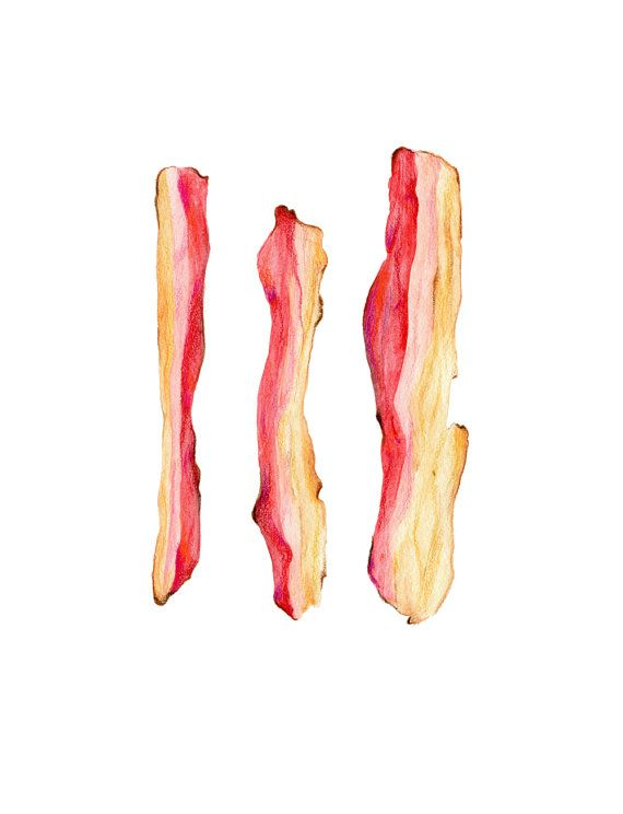 570x744 Bacon Illustration Archival Quality Print By Kendyllhillegas
