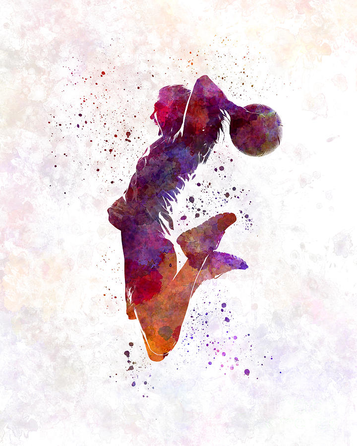 720x900 Young Woman Basketball Player 01 In Watercolor Painting By Pablo