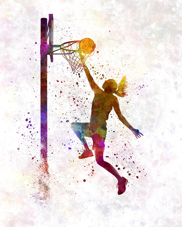 720x900 Young Woman Basketball Player 04 In Watercolor Painting By Pablo