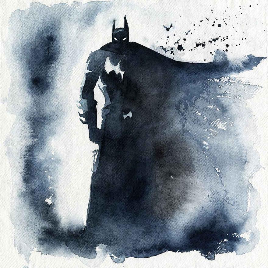 Batman Watercolor Painting