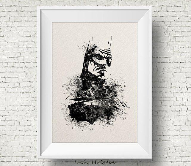 642x559 Batman Watercolor Print Watercolor Painting Watercolor Art Etsy
