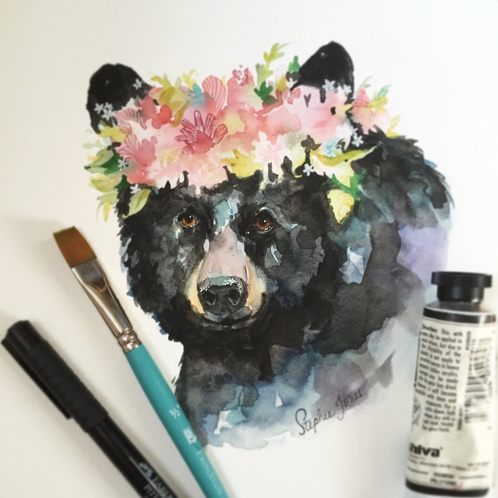 1024x1024 Commission For A Floral Crown Watercolor, Original Painting