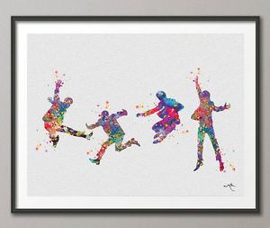 300x253 Beatles Watercolor Painting Print Poster Archival Wall Decor Art