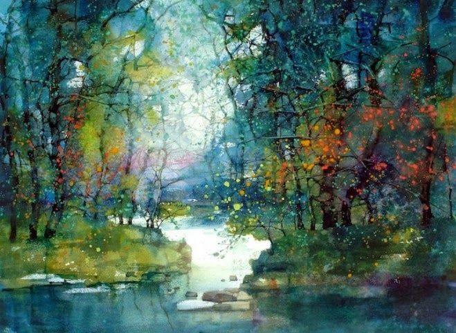 659x481 Beautiful Watercolor Landscape Paintings By Zl Feng Tree Art