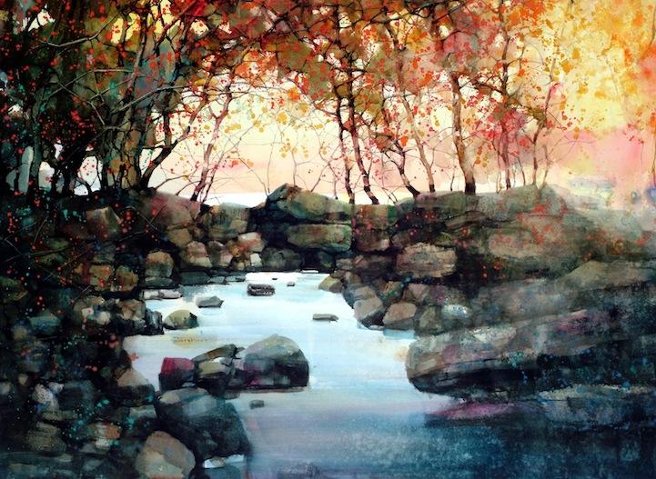 721x527 Beautiful Watercolor Landscapes (12 Pieces)