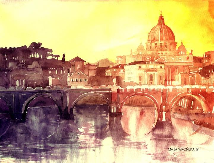 721x549 Beautiful Watercolor Paintings Of European Landmarks