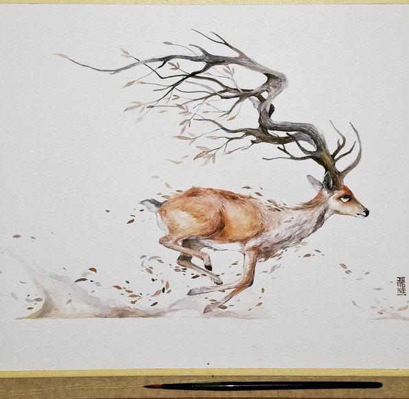 596x581 Beautiful Watercolor By Luqman Reza Mulyono