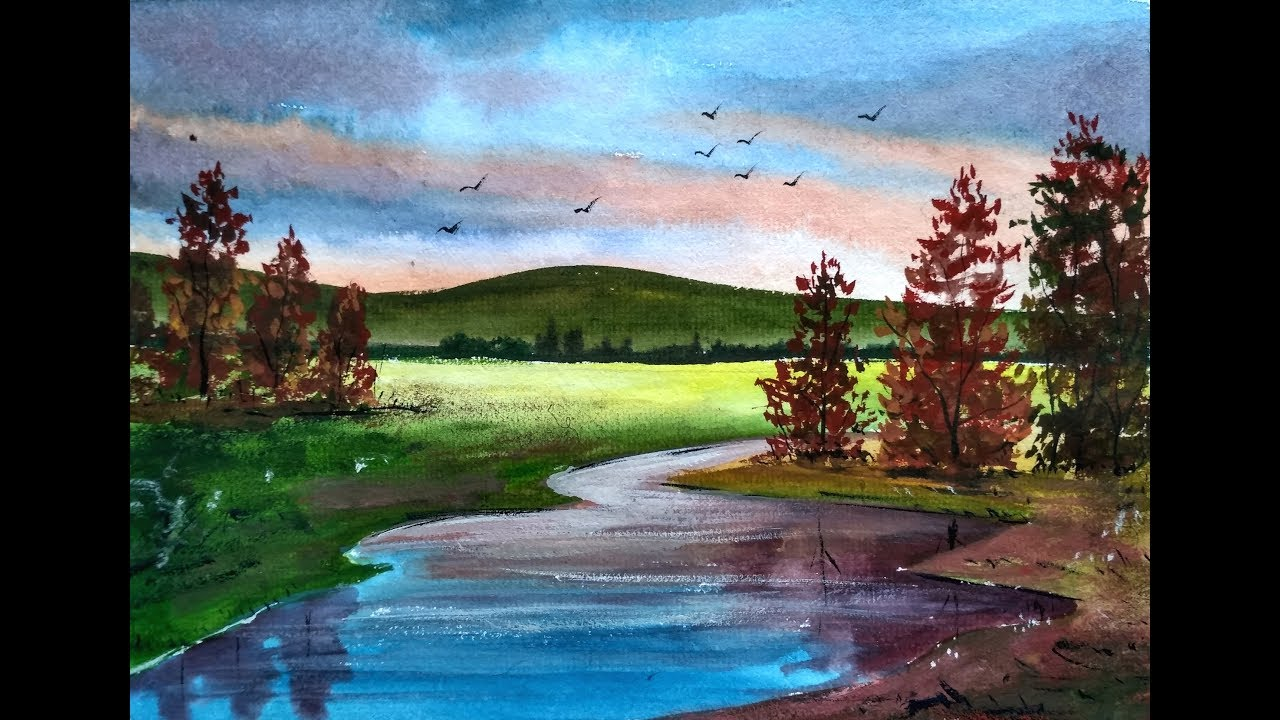 1280x720 Painting Beautiful Watercolor Landscapes With Ghanashyam