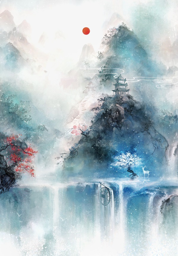 600x862 Antiquity Beautiful Watercolor Illustration, Chinese Style, Color