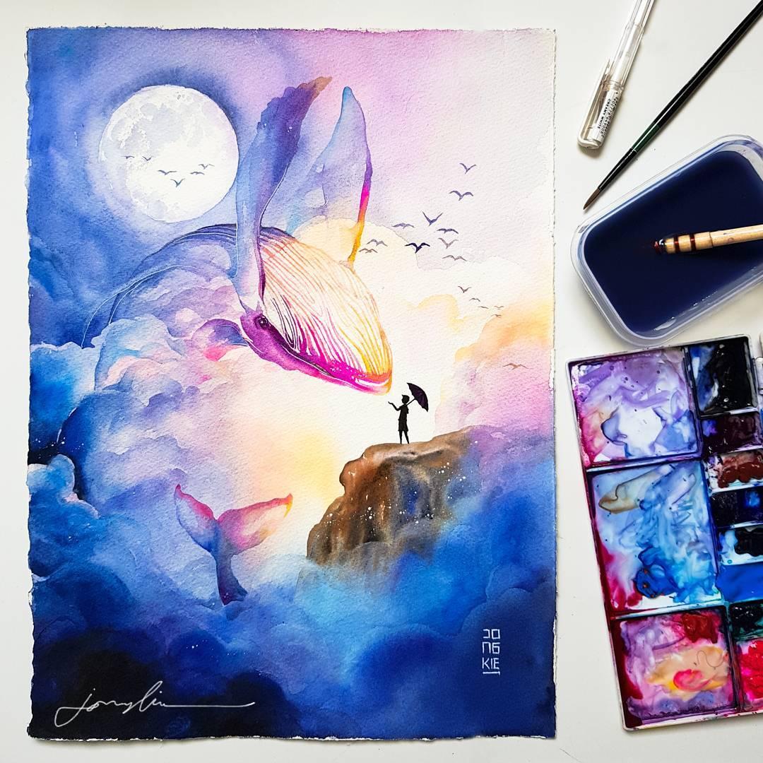 1080x1080 Beautiful Watercolor Animal Illustrations By Luqman Reza Mulyono