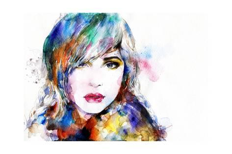473x315 Beautiful Woman Face. Watercolor Illustration Posters By Anna