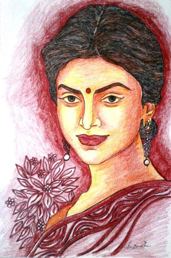 596x900 Beautiful Woman Painting By Artist Sumona Kundu