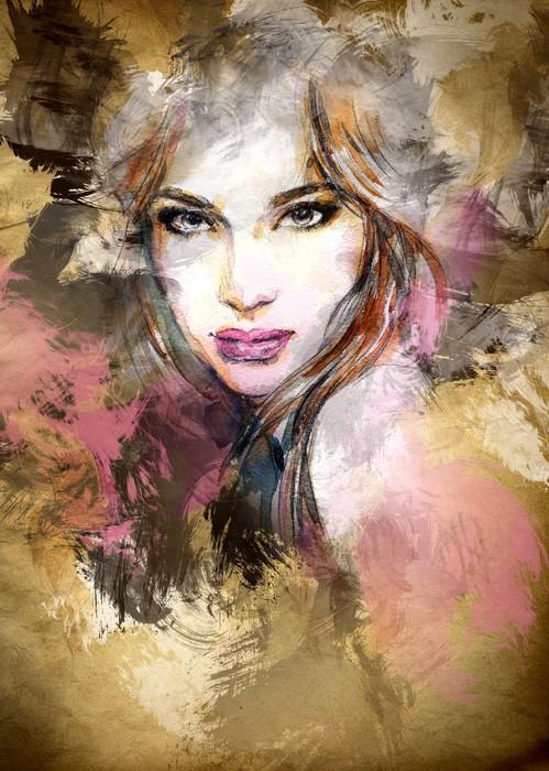 499x700 Beautiful Woman Face. Watercolor Illustration Sticker Pixers