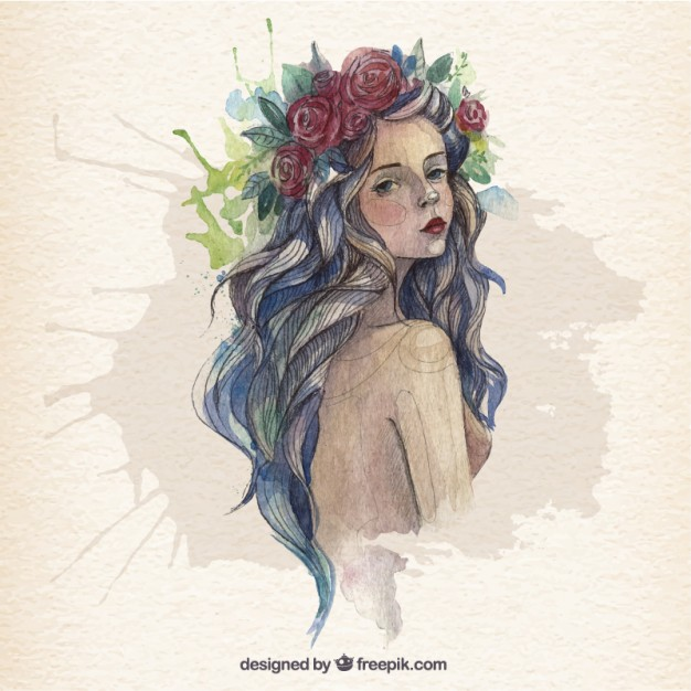 626x626 Beautiful Woman In Watercolor Style Vector Free Download