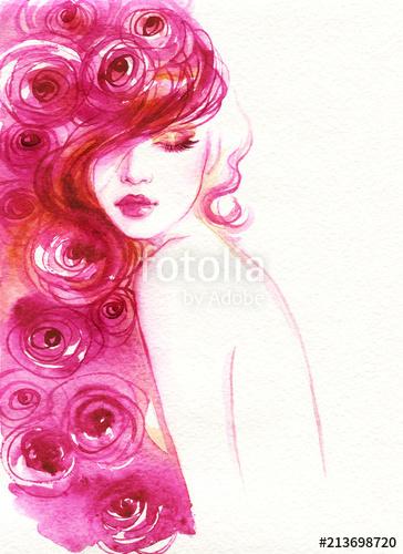 364x500 Beautiful Woman. Fashion Illustration. Watercolor Painting Stock
