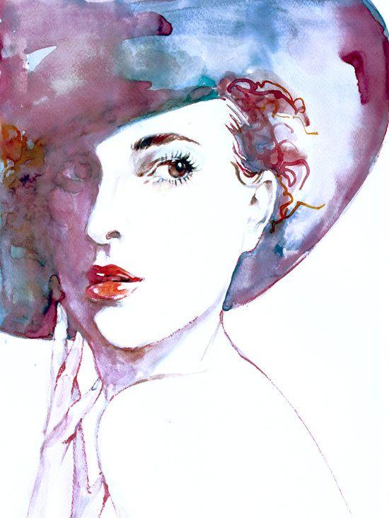 550x733 Fashion Illustration Beautiful Woman Print Watercolor , Art Print