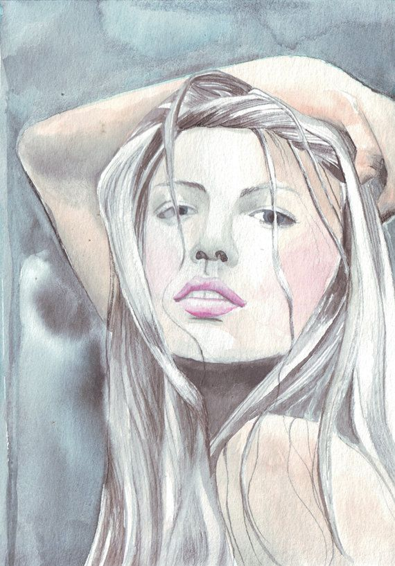 570x817 Original Portrait Watercolor Painting Art Young Beautiful Woman