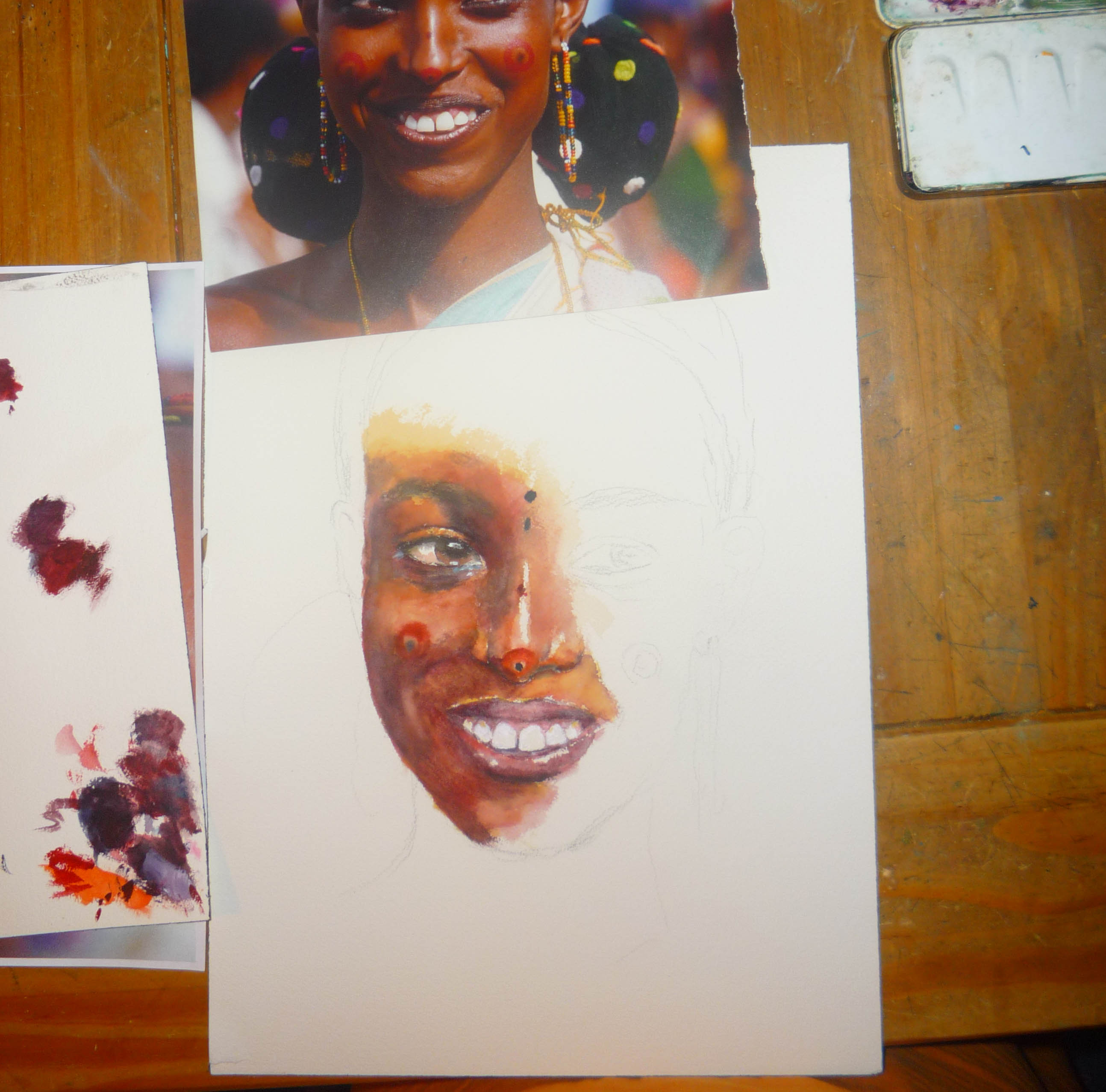 2588x2556 Started A Watercolor Painting Of A Beautiful Woman From The Ogaden