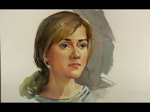480x360 Watercolor Painting Portrait Of Beautiful Girl