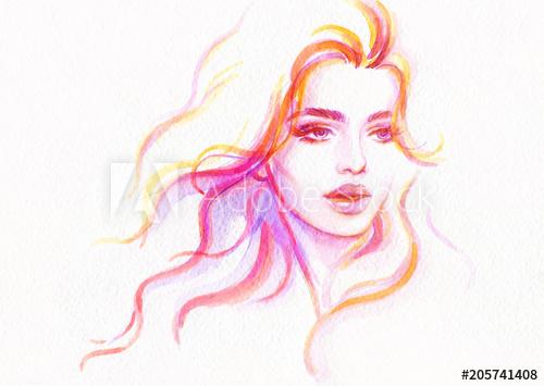 500x355 Beautiful Woman. Fashion Illustration. Watercolor Painting