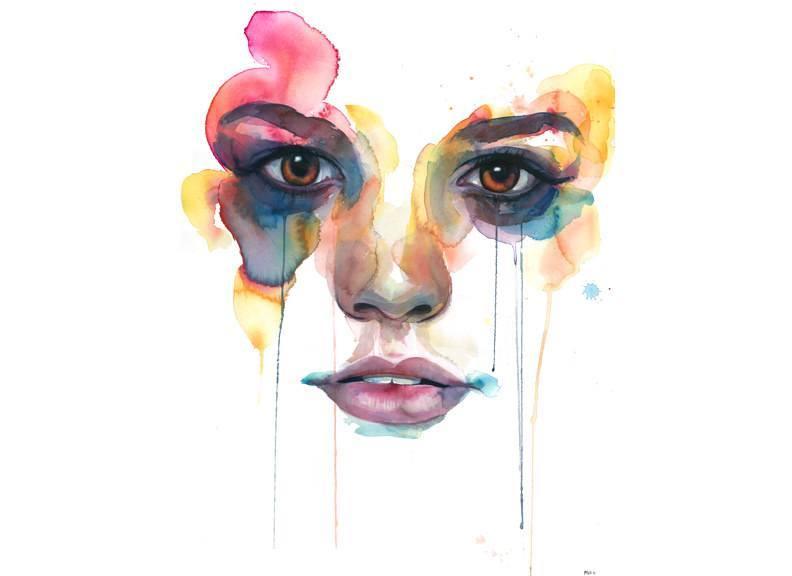 792x576 Portrait Painting Watercolor Face Woman Female Feminine Emotional