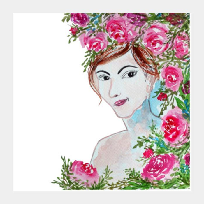 700x700 Beautiful Woman Face Illustration Watercolor Painting Square Art