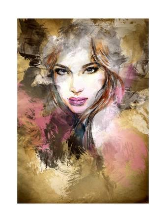 338x450 Beautiful Woman Face. Watercolor Illustration Art Print By Anna