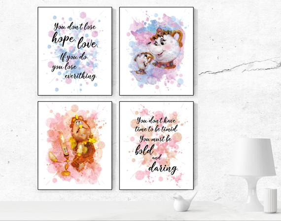 570x448 Beauty And The Beast Print Beauty Beast Watercolor Decor Mrs Etsy